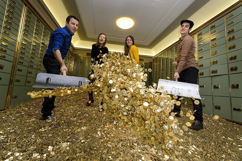 coins in a bank vault