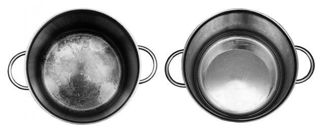 Pan before and after cleaning