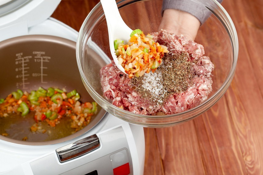 cooking ground meat with roasted vegetables