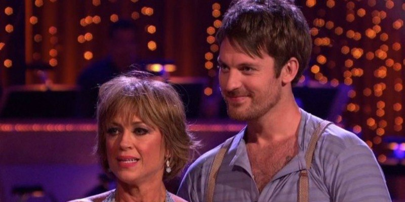 Dorothy Hamill and Tristan MacManus are listening to the judges feedback on 'Dancing with the Stars.'