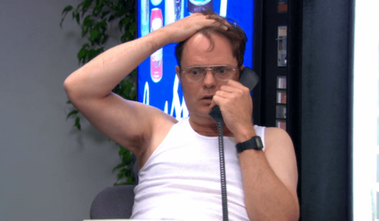 Dwight is bewildered on the phone