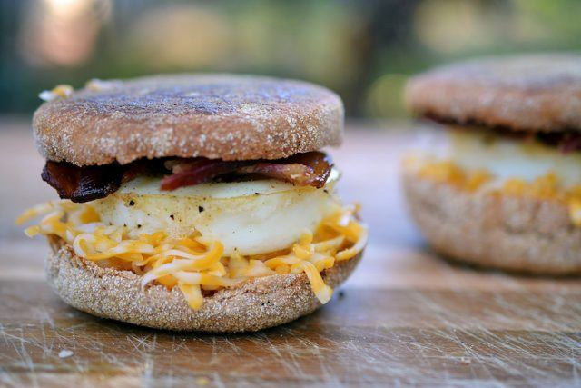Breakfast sandwich loaded with saturated fat.
