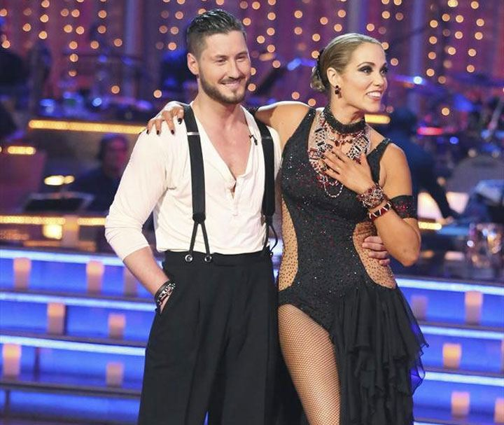 Val Chmerkovskiy and Elizabeth Berkley stand with their arms around one another on 'Dancing With the Stars.'