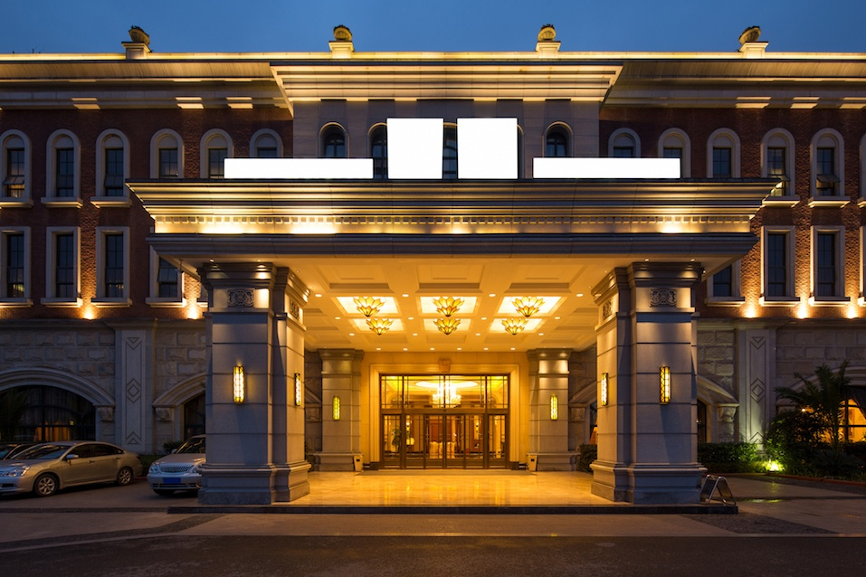 Decoration and design of entrance of modern hotel