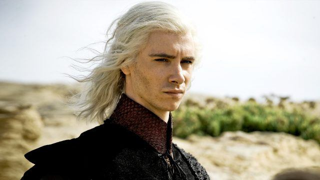 Viserys stands in the desert, with the wind blowing in his hair, in a scene from 'Game of Thrones.'