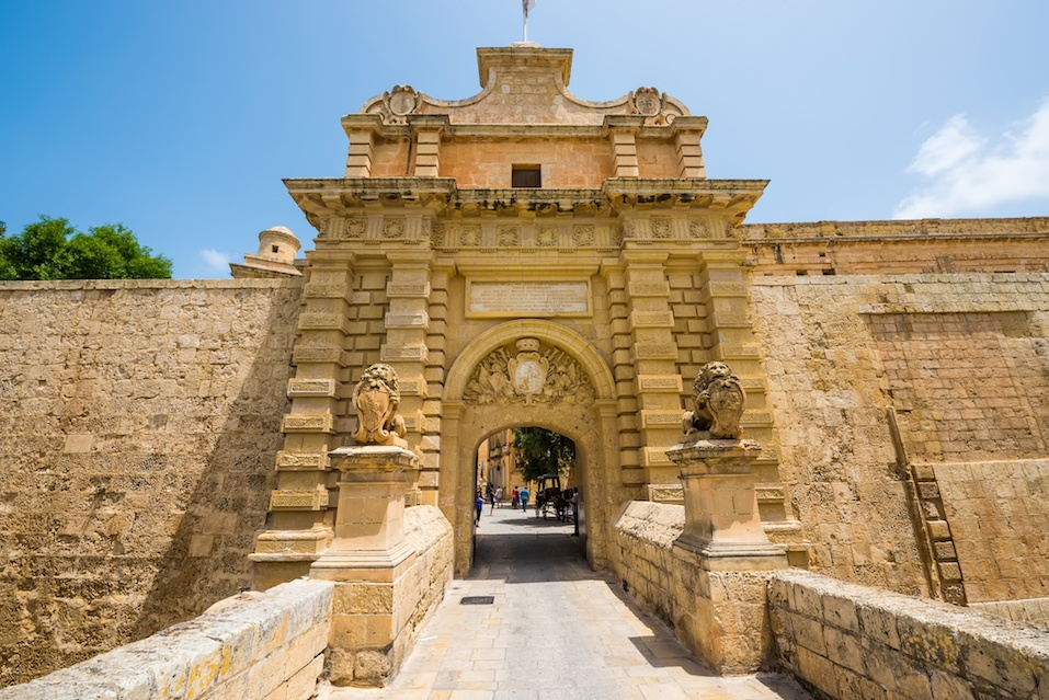 gates to the city of Mdina in Malta