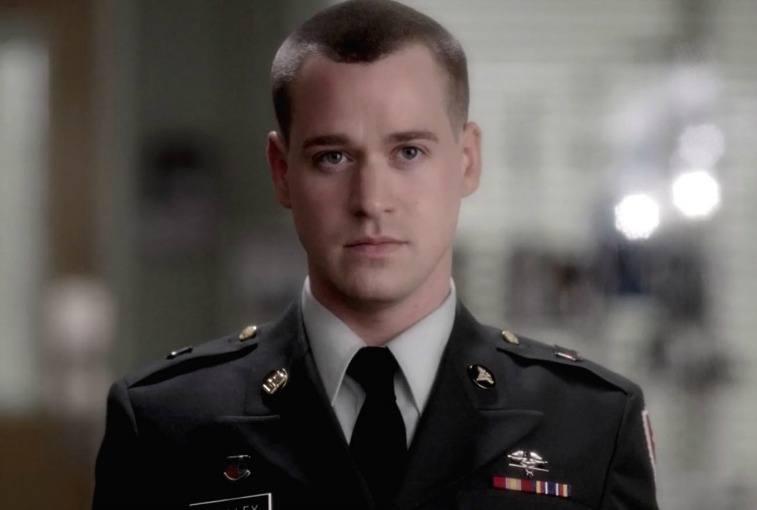 T.R. Knight as George O'Malley on Grey's Anatomy in military uniform