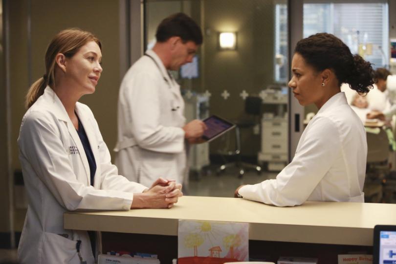 Ellen Pompeo speaks to another doctor in a hospital in Grey's Anatomy