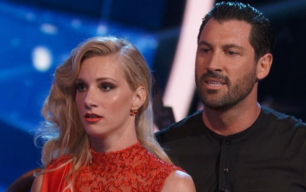 Heather Morris and Maksim Chmerkovskiy look stunned on 'Dancing With the Stars.'