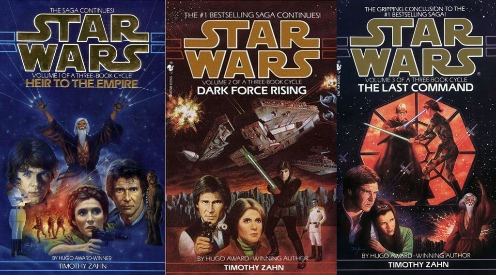 Cover art for all three books in the Thrawn trilogy