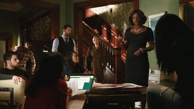 Annalise Keating addresses a room full of her students in a scene from 'How to Get Away With Murder.'