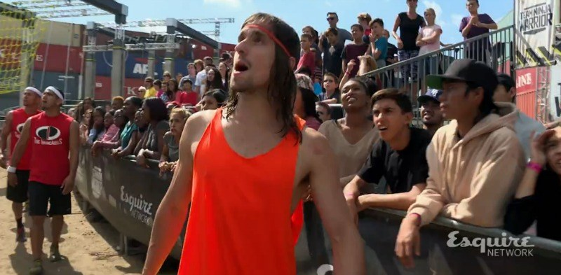 Jake Murray is on the side line looking at the course on Team Ninja Warrior.