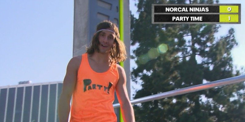 Jake Murray looks dazed at the camera on the course of Team Ninja Warrior.