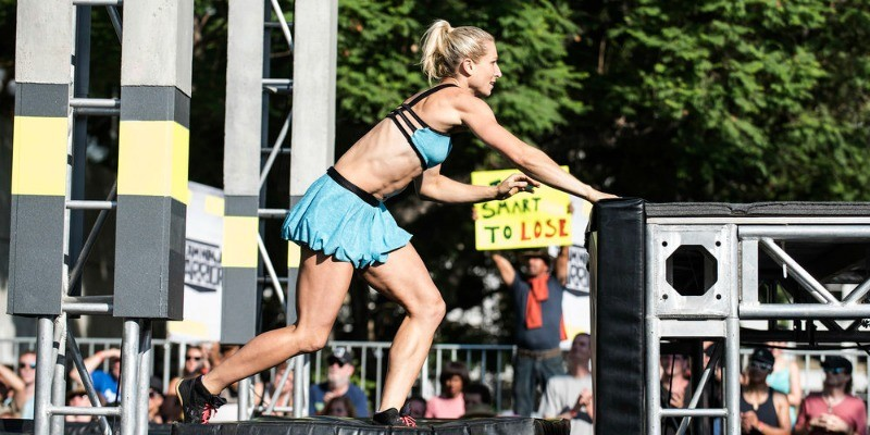 Jessie Graff is about to get on a platform in the course of Team Ninja Warrior.