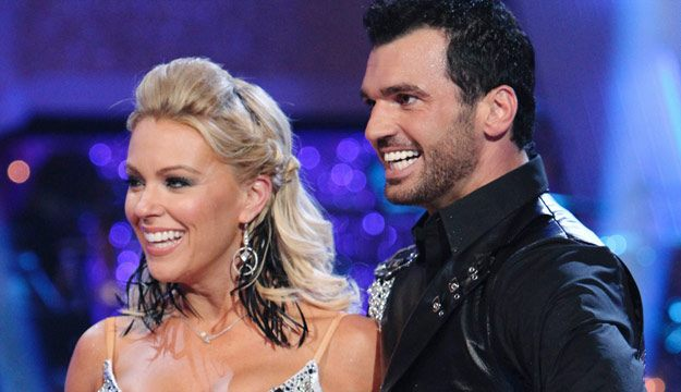 Kate Gosselin and her 'Dancing With the Stars' partner Tony Dovolani smile as they listen to judges' comments.