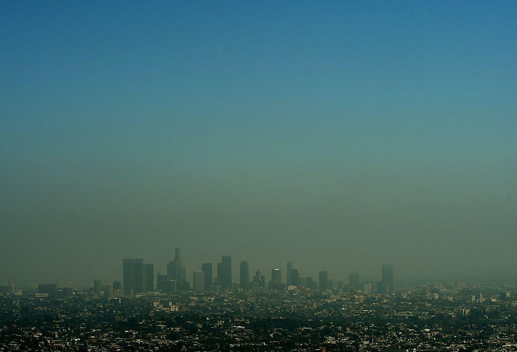 Heavy smog shrouds the Los Angeles skyline.