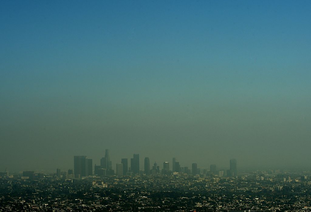 Heavy smog shrouds the Los Angeles skyline.