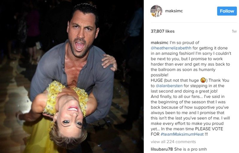 Maksim Maksim Chmerkovskiy is dipping Heather Morris in a screenshot on Instagram.