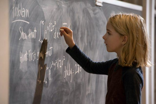 Mary Adler writes complicated math equations on a chalkboard in a scene from 'Gifted.'