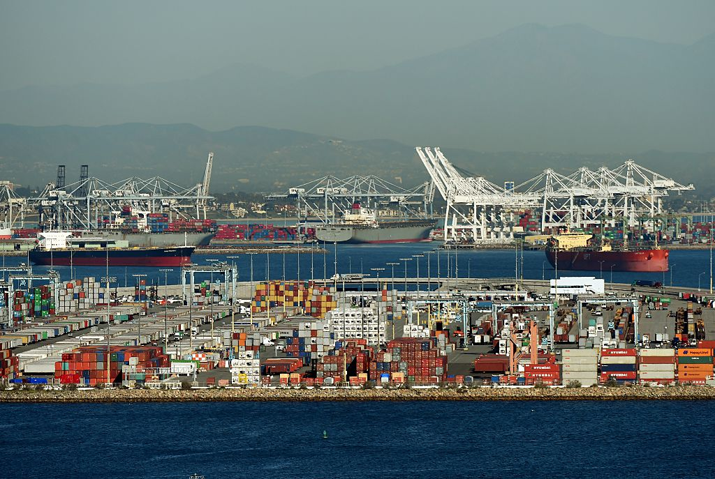 Ships wait to be loaded at the Port of Los Angeles