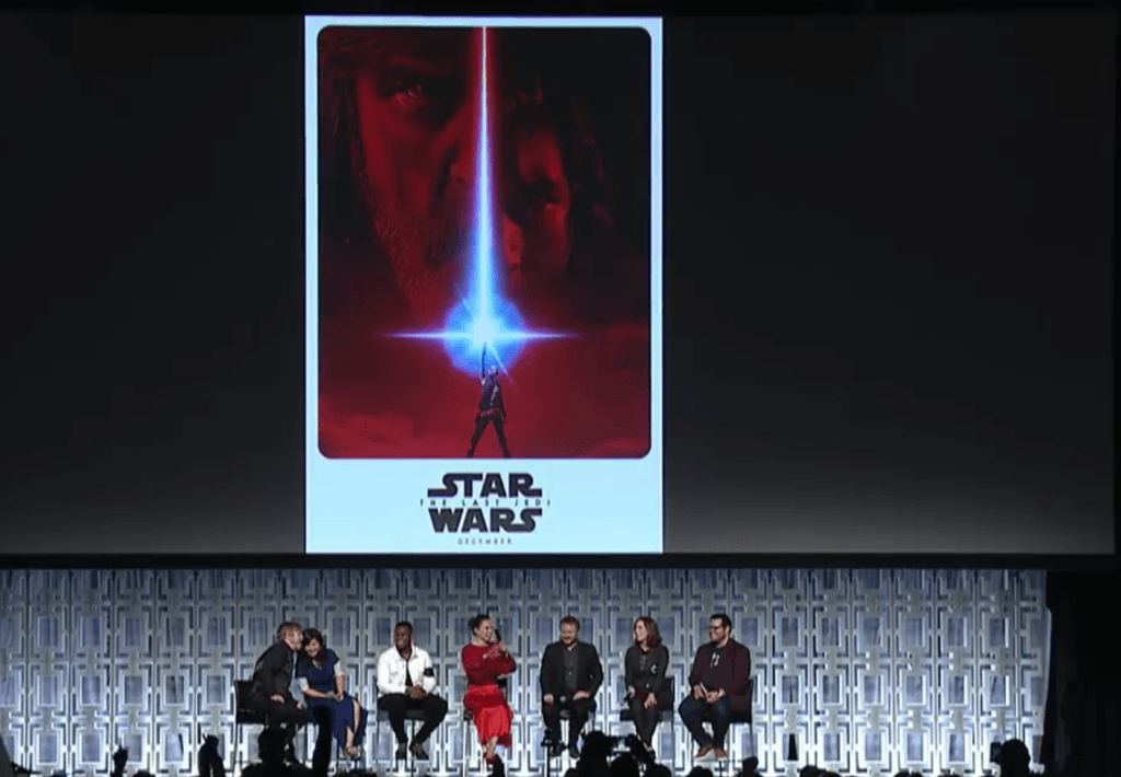 The poster for the Last Jedi, unveiled at a Star Wars Celebration panel