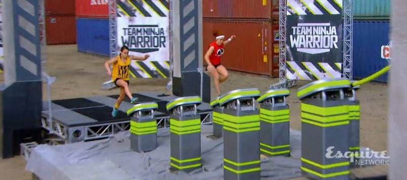 Erica Cook and Jeri D'Aurelio are running up steps next to each other on the course of Team Ninja Warrior.