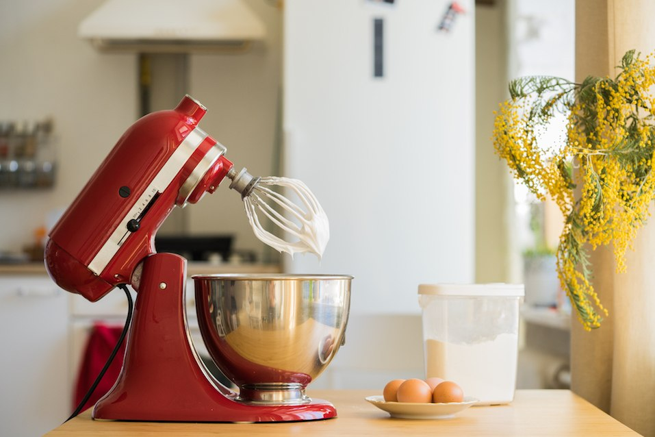red stand mixer in kitchen