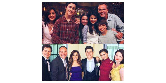 Selena Gomez posted two photos, one on top of the other, of herself and her 'Wizards of Waverly Place' castmates, to Instagram.