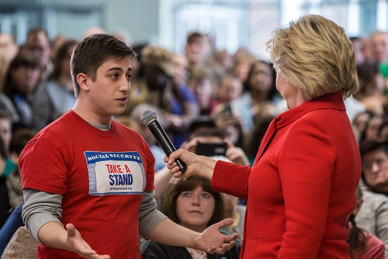 Hillary Clinton takes a question about Social Security from a frustrated young man.