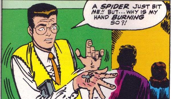 Peter Parker gets bitten by a radioactive spider in the original Marvel comic book