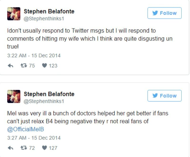 These are two screen shots of Stephen Belafonte's tweets.