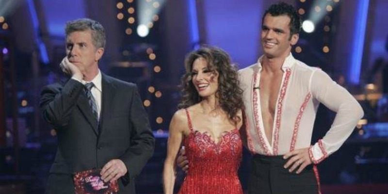 Susan Lucci and Tony Dovolani have their arms around each other as they get feedback from judges.