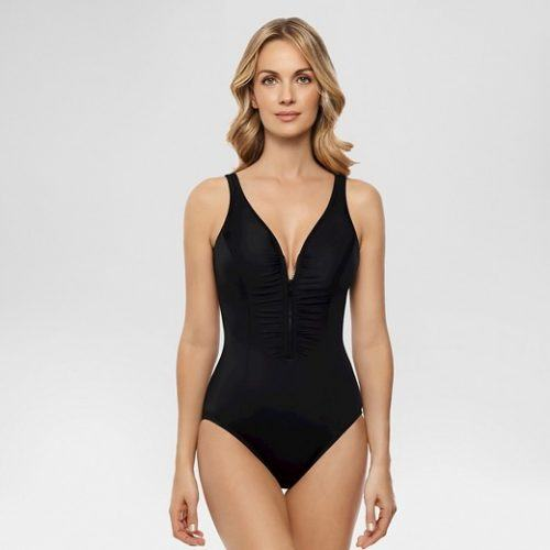Dreamsuit Slimming Control Zip Front One Piece Swimsuit