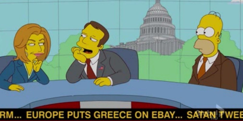 "Homer is on a news show with two news anchors. There is a ticker underneath reading ""Europe puts Greece on Ebay."""