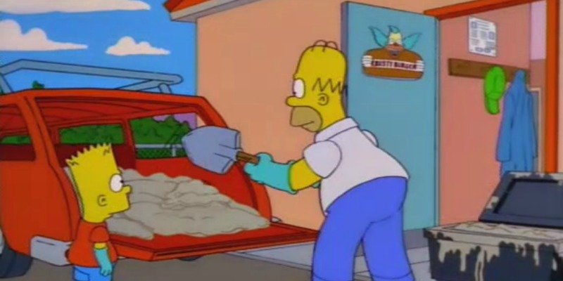 Homer is shoveling grease from Krusty Burger into the back of his car.