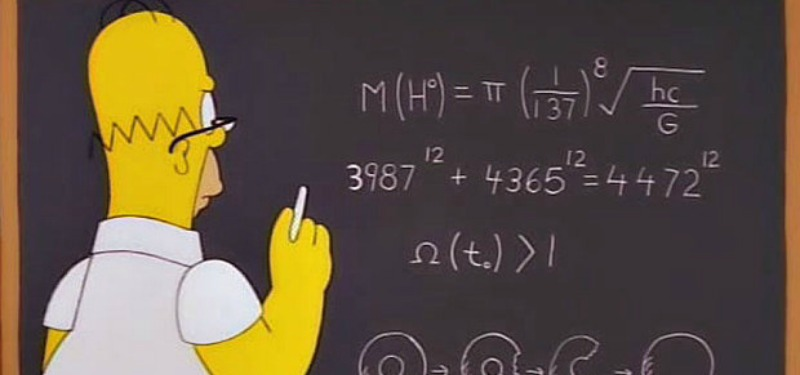 Homer writing an equation on the blackboard while wearing glasses