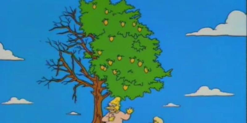 Abraham Simpson is under a lemon tree talking to children.