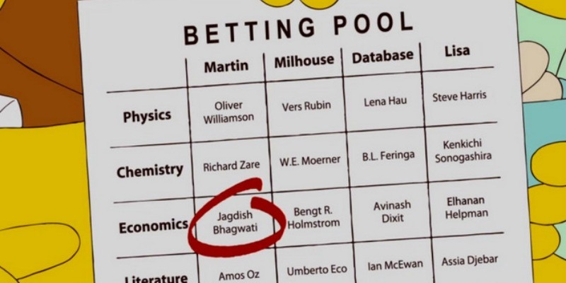 We see a betting pool card on The Simpsons.