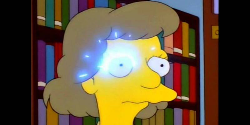 A woman's eye is sparking in a library on The Simpsons.