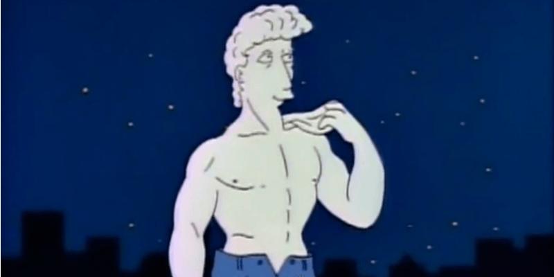 The David Statue is wearing jeans in The Simpsons.