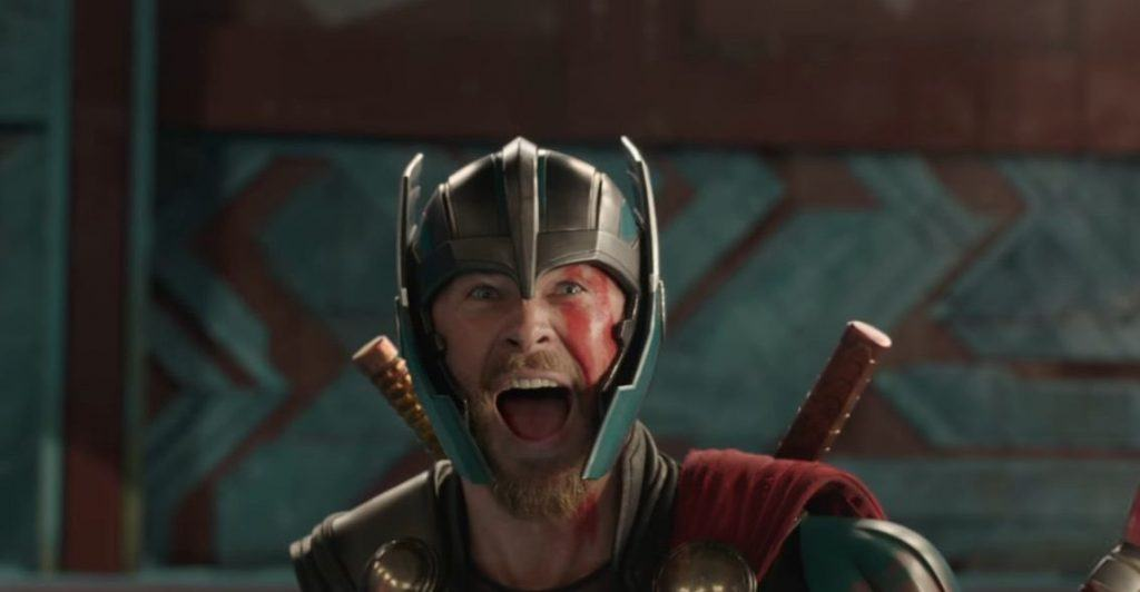 Thor laughs in his helmet in Thor: Ragnarok