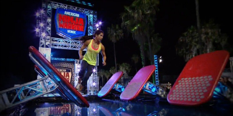 Tiana Webberly is jumping between stands on the course of American Ninja Warrior.