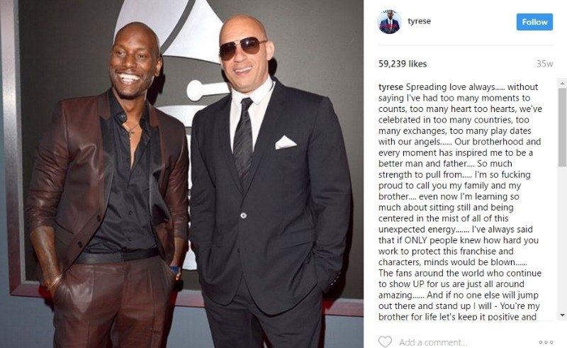 This is a screen shot of an instagram post of Tyrese Gibson and Vin Diesel on the red carpet.