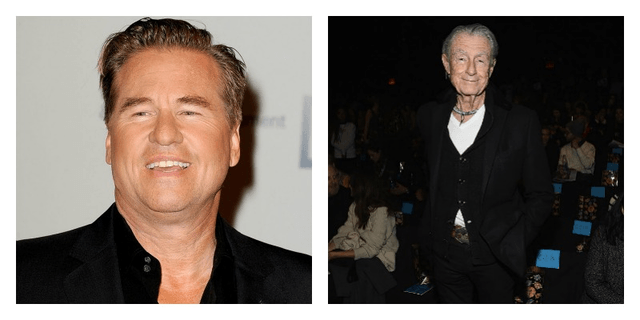 On the left is a closeup of Val Kilmer smiling on the red carpet. On the right is a photo of Joel Schumacher smiling in front of seated people.