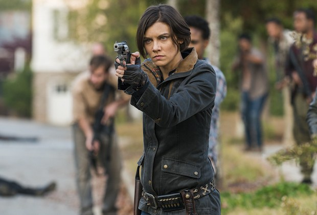 Maggie looks determined as she aims her pistol during a scene from the Season 7 finale of 'The Walking Dead.'