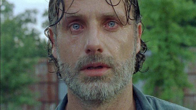 Rick, with tears in his eyes, ooks traumatized in a scene from 'The Walking Dead' Season 7.