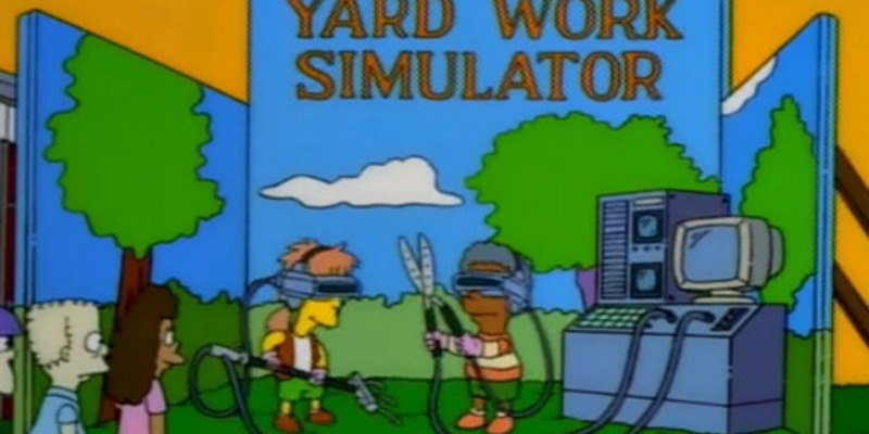 Children play with a yard tools while wearing virtual reality goggles on The Simpsons