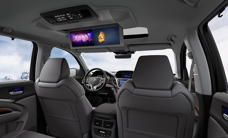 View of entertainment screens inside Acura MDX SUV