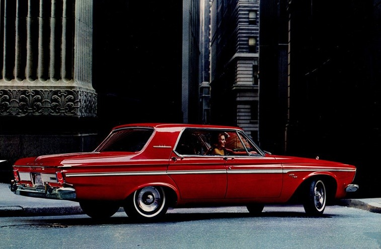 View of a red Plymouth Fury from model year 1963