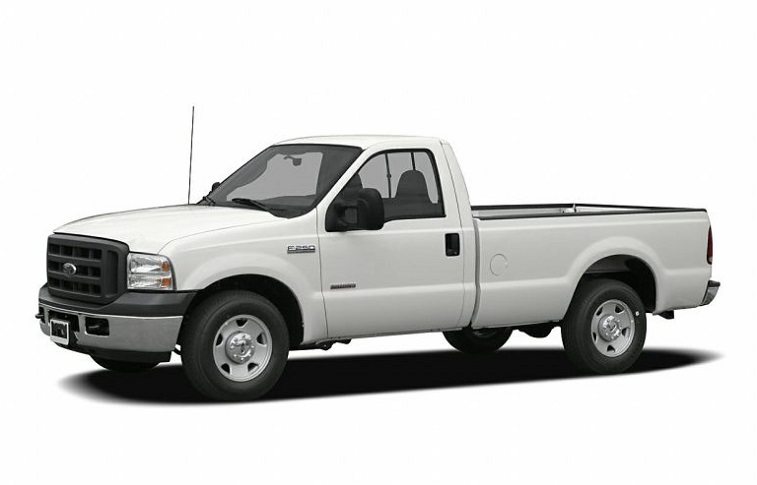 Stock photo of white standard cab Ford F-250 from 2006 model year